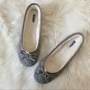 (NEW) Grey Quilted Bow Flats with Faux Fur Lining